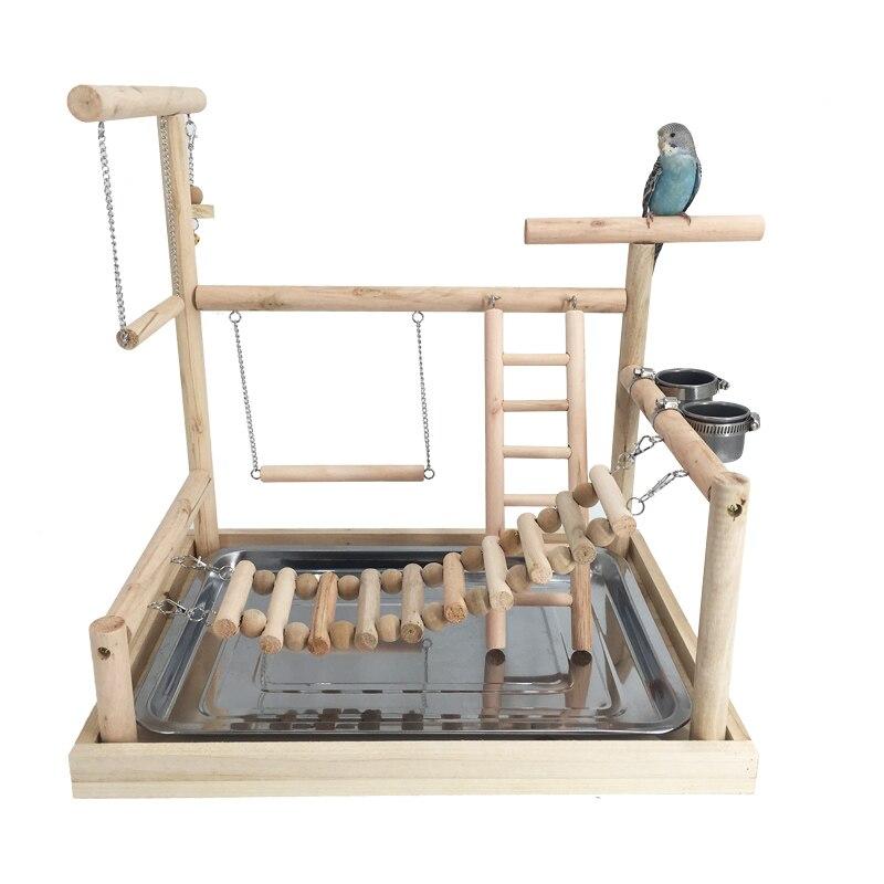 Pet grand perroquet oiseau aire de jeux bois calmar Gym support jeu clôture oiseau échelle pratique jeu jouet tasse WF629150