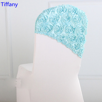 Tiffany colour embroider rosette satin chair sash wedding decoration chair covers hood lycra band fit all chairs wholesale
