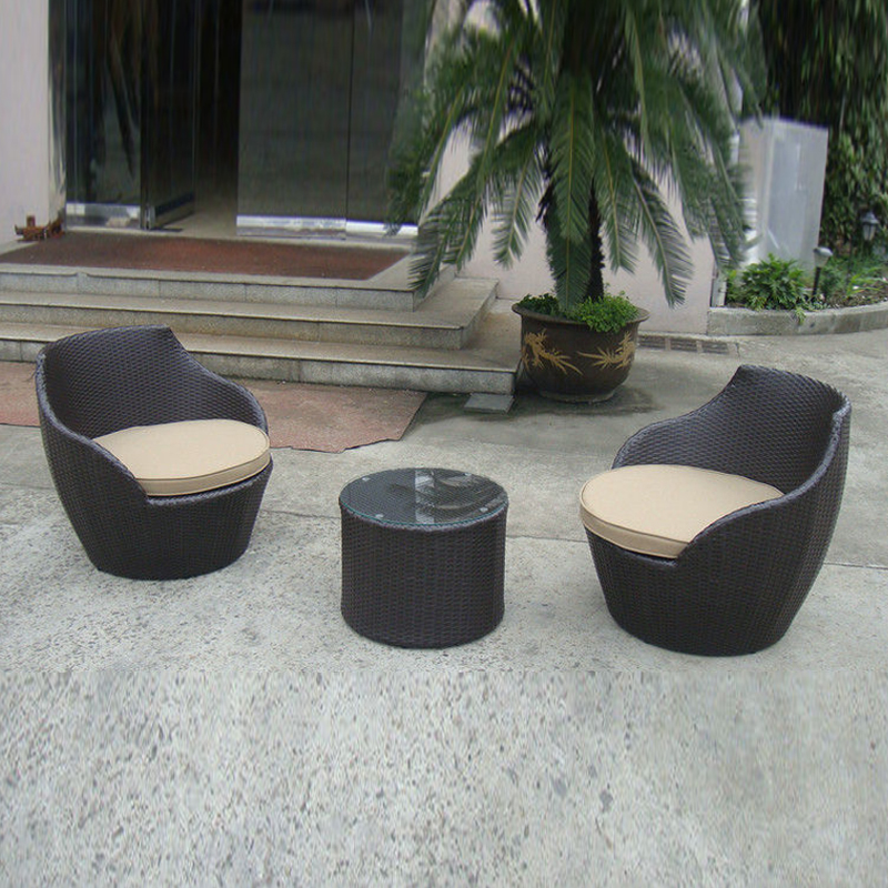 цены 3 pcs Dark Brown Resin Wicker Obelisk Chair , Rattan Bullet Sofa Set transport by sea