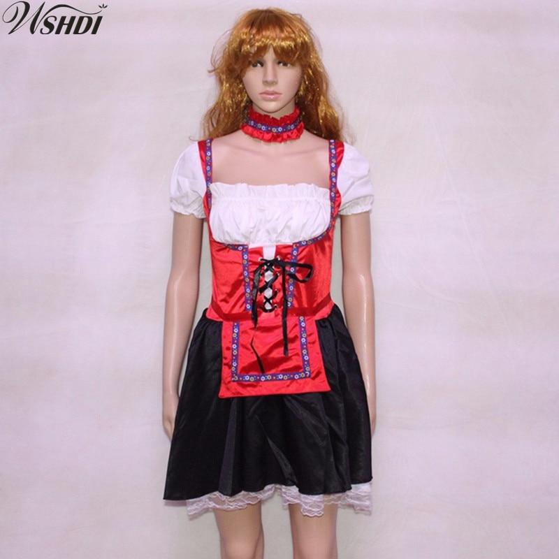 Women Halloween Costumes Cosplay Beer Girl Heidi Uniforms Beer Maid Costume Oktoberfest Dirndl Cosplay Party Fancy Dress