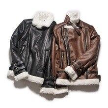 Avirex Fly Air Force Flight Jacket Fur Collar Genuine Leather Jacket Men Winter Dark Brown Sheepskin Coat Pilot 'bomber Jacket,