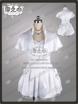 Anime WHITE ALBUM 2 Ogiso Setsuna White Clothing Uniform Party Cosplay Costume Dress+Gloves+Socks   A