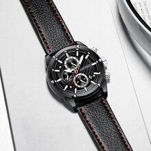 MINIFOCUS Top Marca de Luxo Mens Relógios Desportivos Quartzo Negócio Relógio À Prova D' Água Chronograph Data Pulseira de Couro Relogio masculino