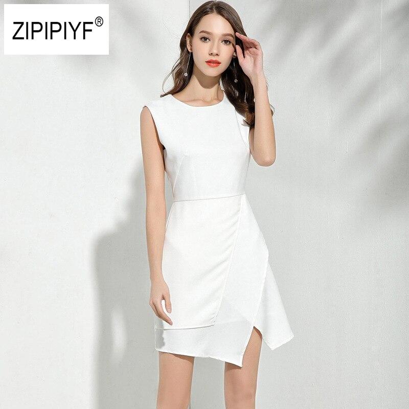 2018 neue Frauen Asymmetrische Kleid Runway Promi-party Kleider Weiß ...
