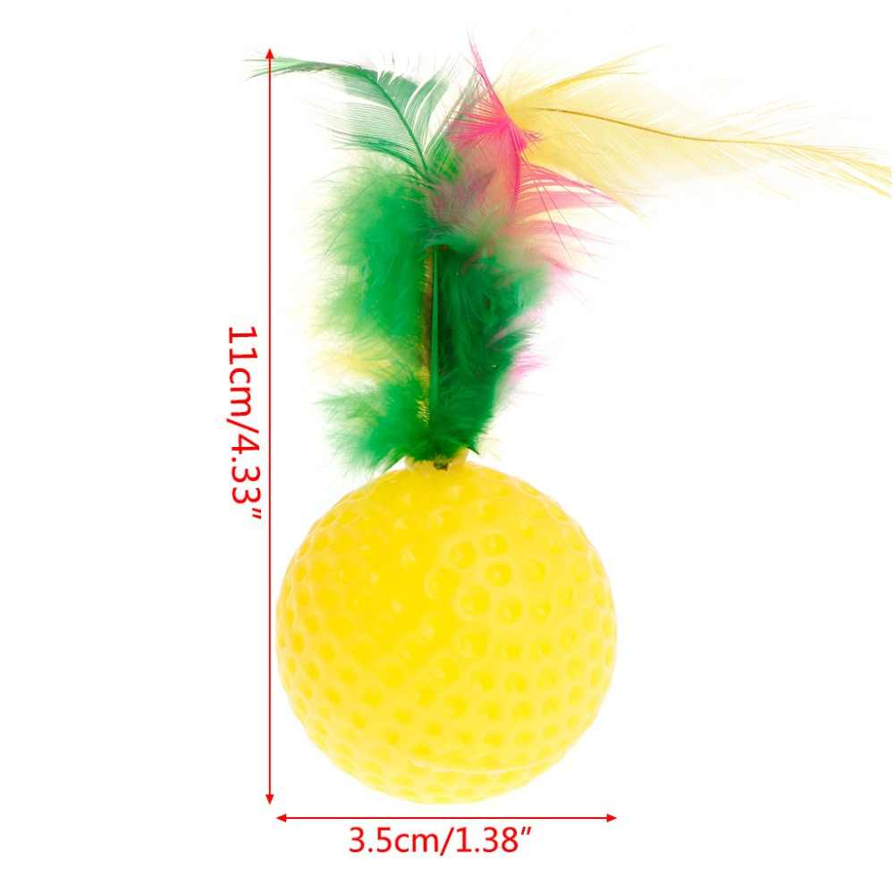 Cat Teaser Pena Bola de Golfe Colorido Brinquedos Squeaky Chew Jogar Interativo Inteligente Engraçado Animal de Estimação Fontes do Cão Filhote De Cachorro Gatinho