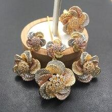 Lanyika biżuteria zestaw żywe spiralne Stereo kwiaty naszyjnik z kolczyki i pierścień Cubic cyrkon Micro betonowa na imprezę prezent dla nowożeńców