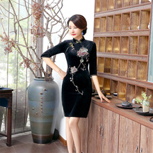 Black Chinese Women Traditional Velvet Qipao Flower Cheongsam Sexy Short Dress Female Elegant Slim Dress Plus Size L110830
