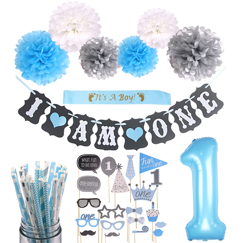 Baby Boy 1st birthday photo booth props first birthday party decorations fun one first year birthday photo props Accessory