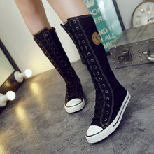 Plus Size 35-43 Women's Boots Fashion Women Canvas Boots Women Knee High Boots Brand Female Casual Flat Shoes Knee High Boots