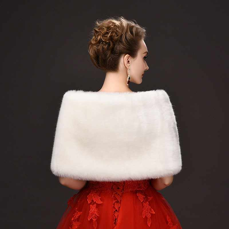2019 Elegan Hangat Bulu Imitasi Putih Bolero Pernikahan Selendang Pengantin Jaket Mantel Aksesoris