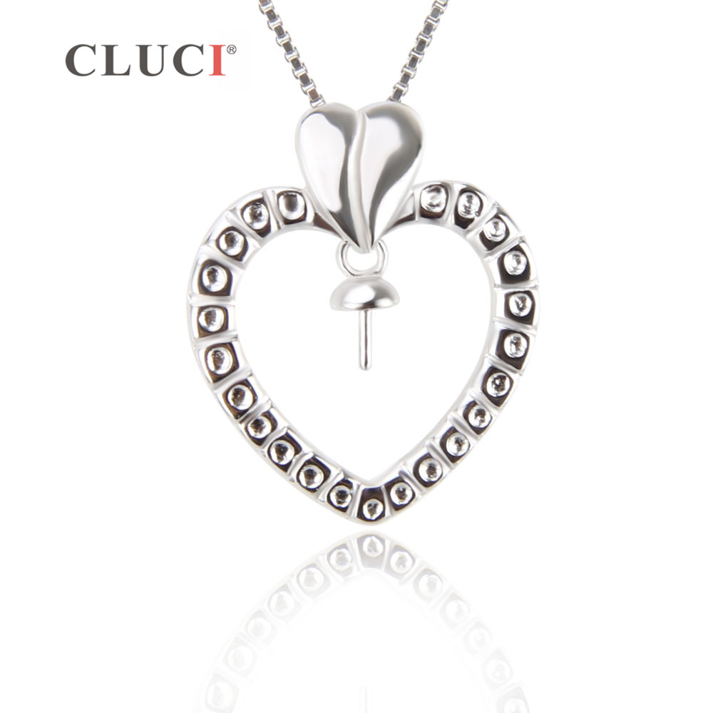 CLUCI New Free Shipping 925 Sterling Silver Heart Shape Pendant For Women Necklace Jewelry Making Cute Heart Pendant Jewelry