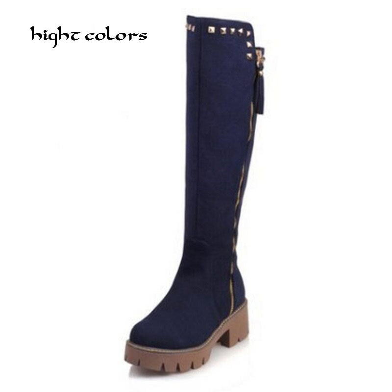 Size 32-43 New Winter Designer Womens Square Low Heel Riding Motorcycle Heel Knee High Boots Punk Gothic Platform Zip Shoes