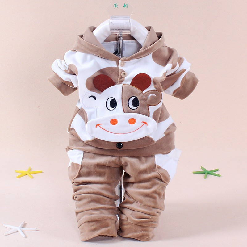 2018 Winter 2PCS Baby Girl Cow Clothing Set Children Boy Sport Suit Newborn Long Sleeve Cotton Fleece Tracksuit Kids Clothes cotton spring thomas train children clothes set long sleeve sleepwear pajamas boy sports suit blue tracksuit for 2t 7t kids