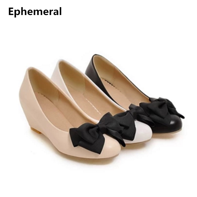 Wedge shoes for women bow chunky heel round toe mujer zapato plus size 12-3 beige black comfortable slip-on ladies loafers white nayiduyun women genuine leather wedge high heel pumps platform creepers round toe slip on casual shoes boots wedge sneakers