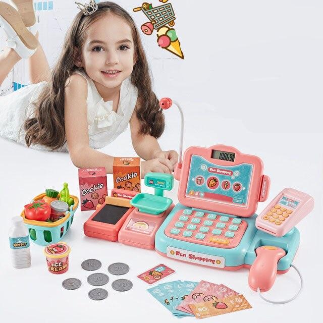 Bébé supermarché caisse enregistreuse jouet ensemble enfant Simulation caissier Simulation carte numérisation enfant jouer maison garçon fille jouet