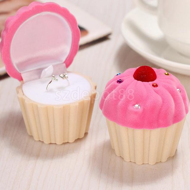 Hochwertig Schöne Kuchen Cupcake Design Samt Ring Box Ohrring Halskette Schmuck  Lagerung Hochzeit Party Favor