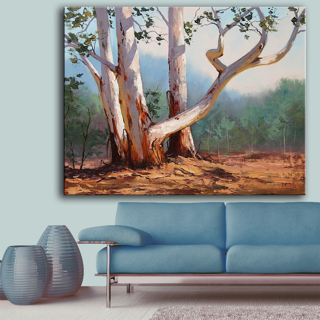 Us 10 23 Huge Size Print Oil Painting Wall Painting Nature Art Trunk Trees Home Decorative Wall Art Picture For Living Room Painting In Painting