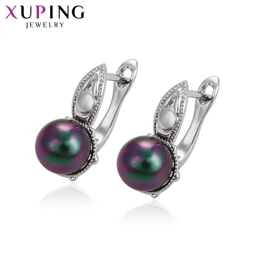 11,11 сделок Xuping Мода элегантный подражать серьги с жемчугом синтетических CZ для Для женщин Рождество подарок S57-93288