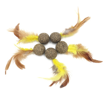 Soft Feather Ball Treats Interactive Catnip Toys 1