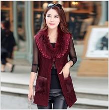 Autumn Fashion New Women Sweet Vest Elegant Fur collar Cardigan Splicing Knitted Vest Slim Women Leisure Street wind Vest G2198