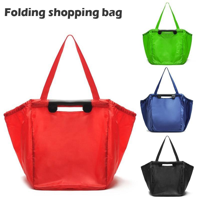 Polyester Reusable Foldable Shopping Bag Large Capacity Supermarket Cart Folding Storage Grocery Totes Eco-friendly Bags Handbag