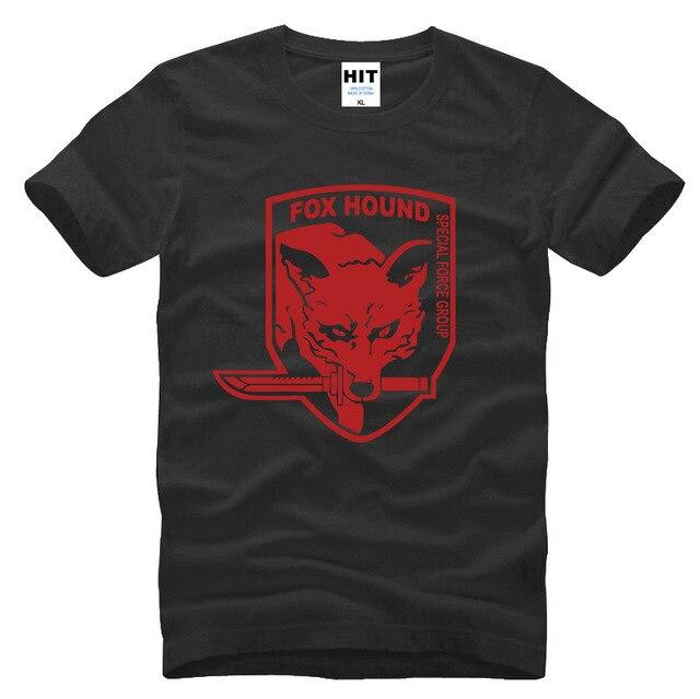 Шестерни металла сплошной MGS лиса гончая видеоигры мужские мужская майка футболка мода 2015 с коротким рукавом хлопка тройник Camisetas хомбре