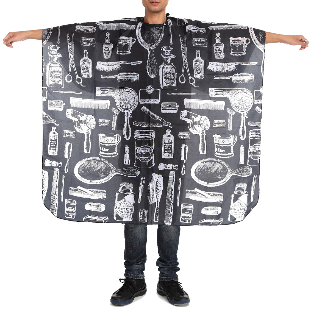 Styling Tools 140x45cm Pattern Black Waterproof Hairdressing Cape Wrap Gown Apron Barber Hairdresser Hair Cutting Cloth 0306 Beauty & Health