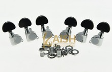Chrome w/ Black Button Guitar Tuners Tuning Keys for Acoustic or Electric Guitar