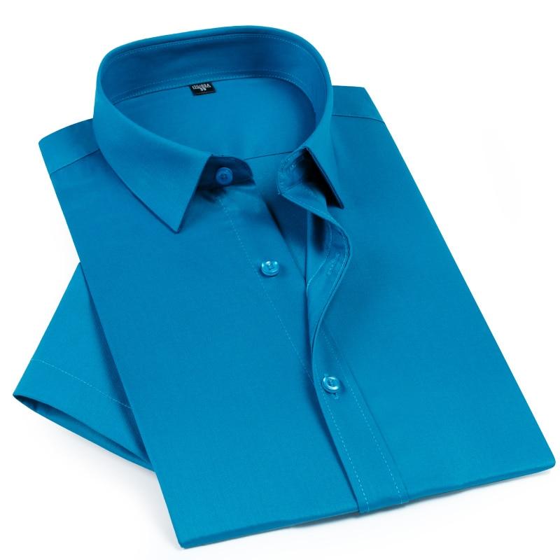 Men's Summer Short Sleeve Bamboo Fiber Thin Dress Shirts Soft Comfortable Formal Business Standard-fit Easy Care Shirt