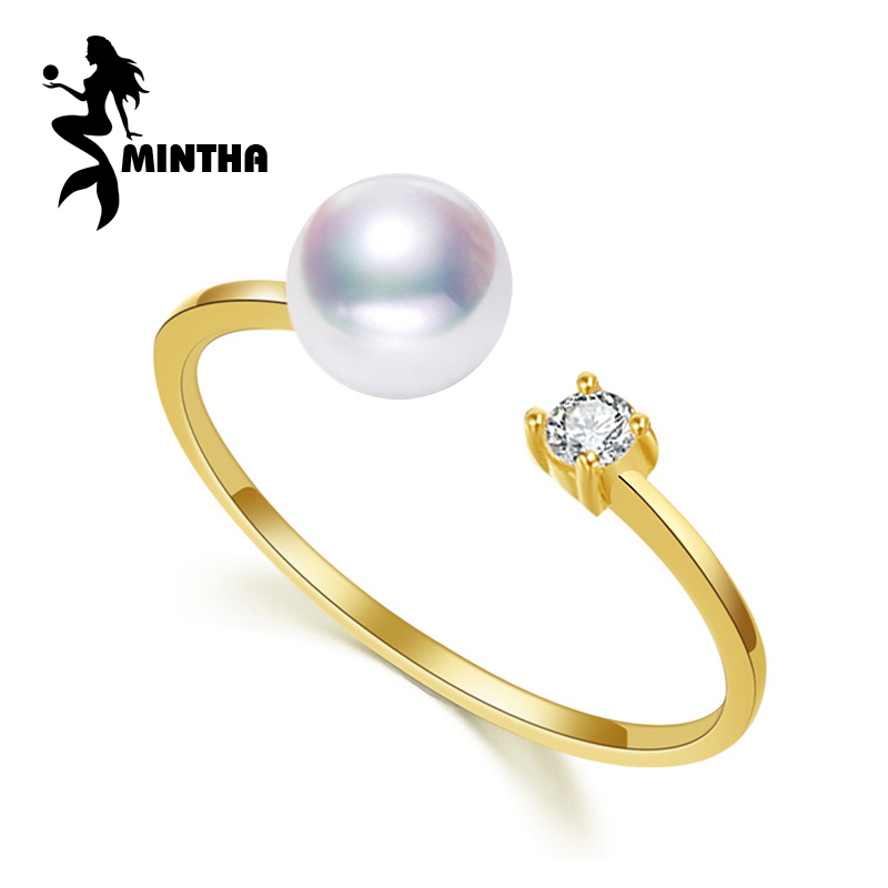 MINTHA brand 18K yellow gold rings,7-8mm round natural pearl ring for love,bohemian Women 18K Gold Wedding Rings Engagement Ring цена