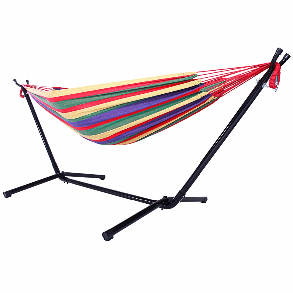Outdoor Portable Hammock Set with Stand Polyester HOT SALE hammock accessory portable hammock stand black background