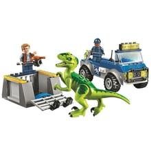 Juniors Jurassic World Dinosaur Model Building blocks Raptor Rescue Truck figure Bricks Compatible With toys children