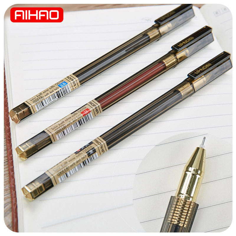 AIHAO Student 0.5mm Red Blue Black Ink Gel Pen Cute Kawaii Office Pens For Kids Writing Gift School Supplies 1529 3pcs set kacogreen liquid ink gel pen plastic student office writing pens black blue red ink school supplies stationery