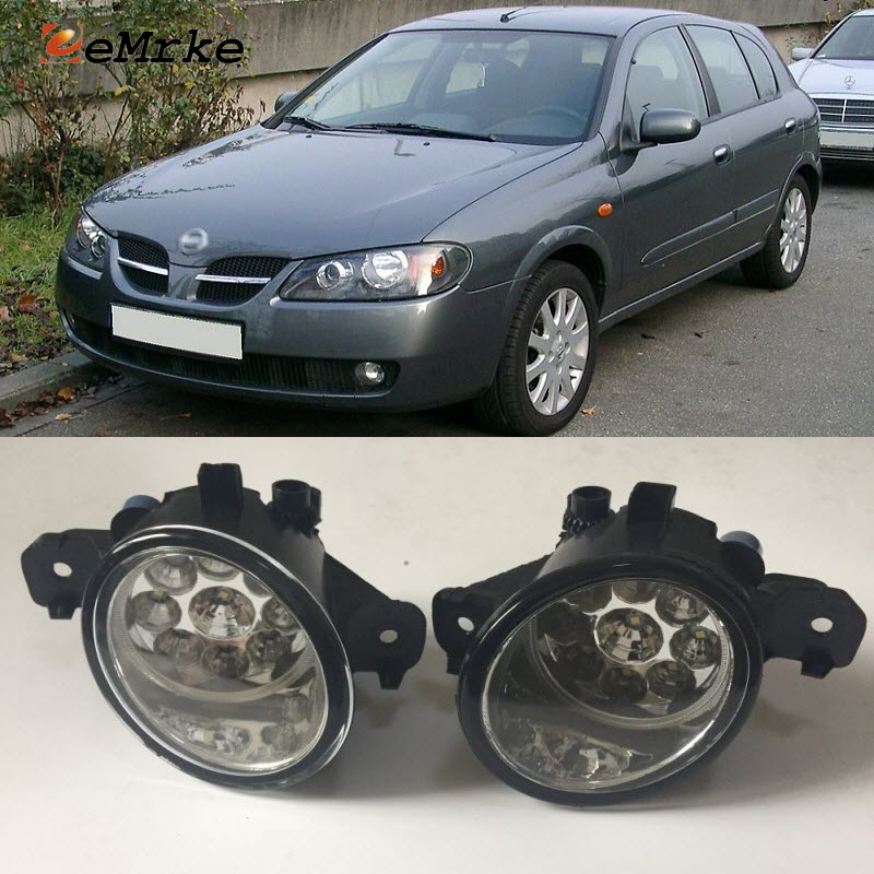EEMRKE For Nissan Almera (N16) 2002 2007 9-Pieces Led Halogen Fog Lights 12V 55W Fog Head Lamp Car-Styling ветровики prestige nissan almera classic sd 06