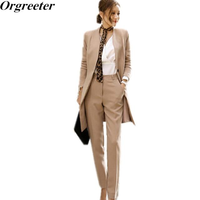 Orgreeter Runway moda 2018 nuevos trajes elegantes de pantalón para mujer 2  unidades conjunto OL Formal 05670436f05e