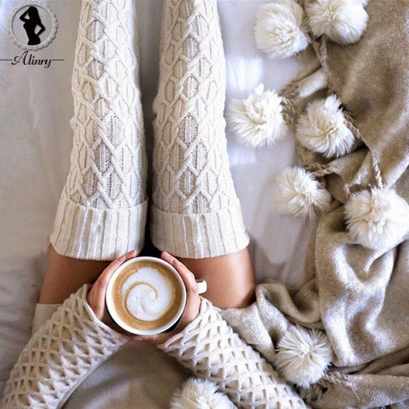 ALINRY Harajuku Woolen Ball Strümpfe 2018 Warme Herbst Knit Über Knie Socken Oberschenkel Hohe Schule mädchen Einfarbig 1 para strumpfwaren