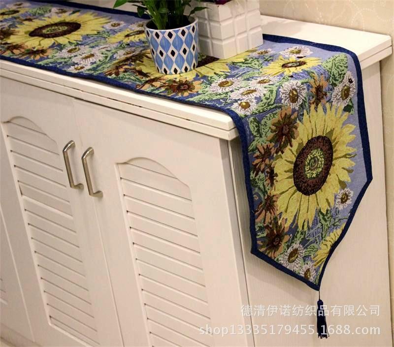 Cotton Linen Table Runner Sunflower