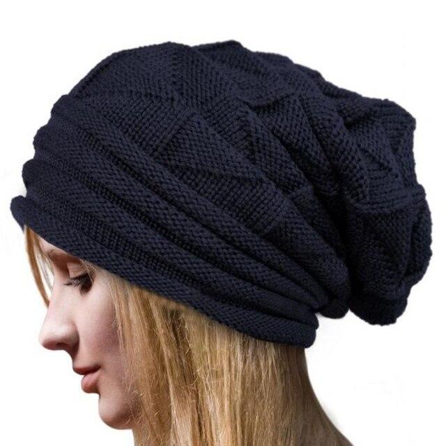 Mulheres Moda Inverno Chapéus Crochet Gorros de Lã de Malha de Inverno  Tampas Quentes Skullies Gorros d1ea5cf3487