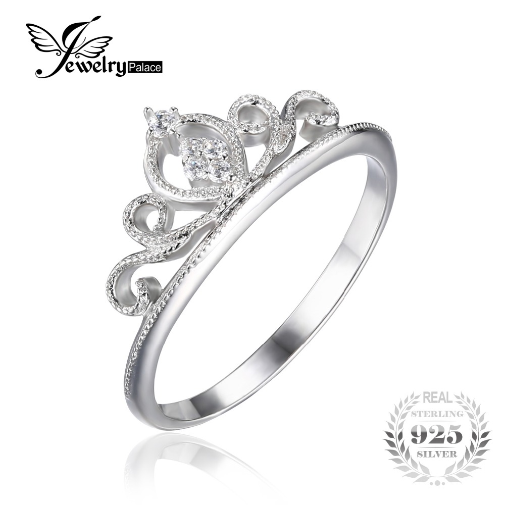 Jewelrypalace Crown Round Cubic Zirconia Anniversary Promise Engagement Ring  For Women Real 925 Sterling Silver Wedding Jewelry