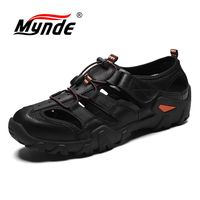 Mynde Top Quality Casual Shoes Men Sandals Summer Genuine Leather Beach Sandals outdoor Men shoes Men Sneakers Plus Size 38 48