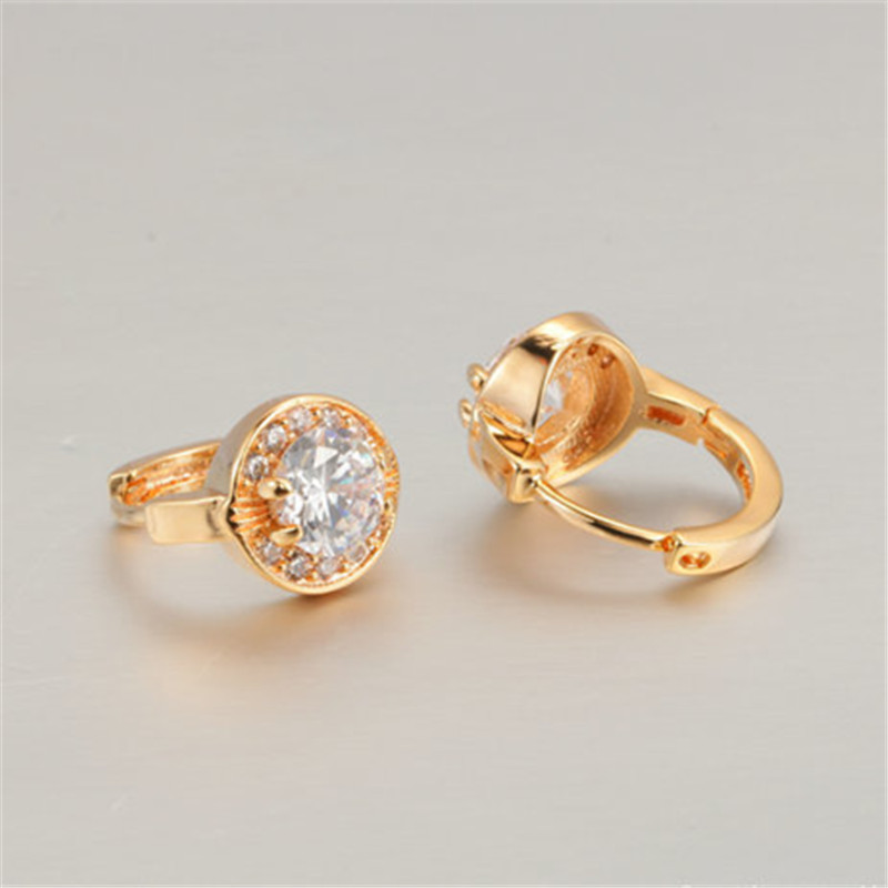 Visisap Dazzling AAA Cubic Zirconia Hoop Earrings For Women Luxury Party Gifts Earrings Yellow Gold Color Vintage jewelry VSE019 in Hoop Earrings from Jewelry Accessories