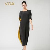 VOA Плюс Размер Свободное тяжелое шелковое женское Несимметричное длинное платье с коротким рукавом винтажное черное с золотистыми краями п