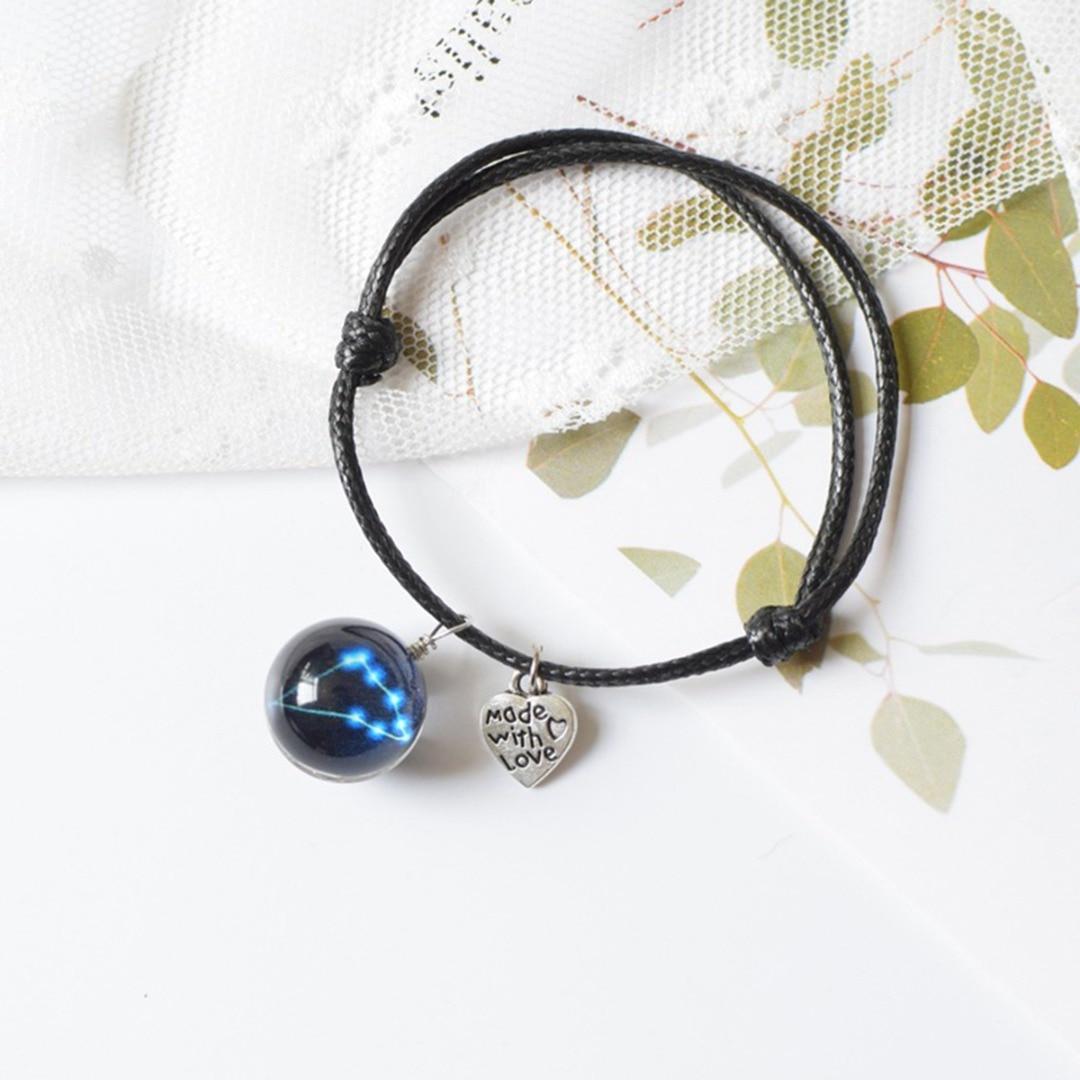 12 Zodiac Sign Horoscope Astrology Leather Bracelets For Women Men Glass Ball Glowing Bracelet Bangle Jewelry For Lovers Couple