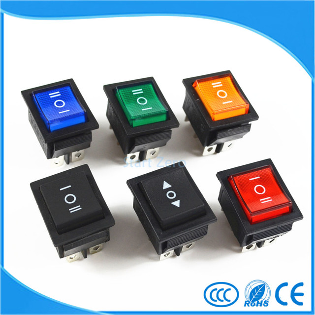 Rocker Switch Power Switch 3 Position 6 Pins With Light 16A 250VAC/ 20A 125VAC