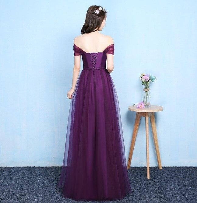 Image 2 - Grape Purple Off The Shoulder Sleeveless Bridesmaid Dress Women Wedding Dress Party  Long Floor Length Back of Bandage VestidosBridesmaid Dresses   -