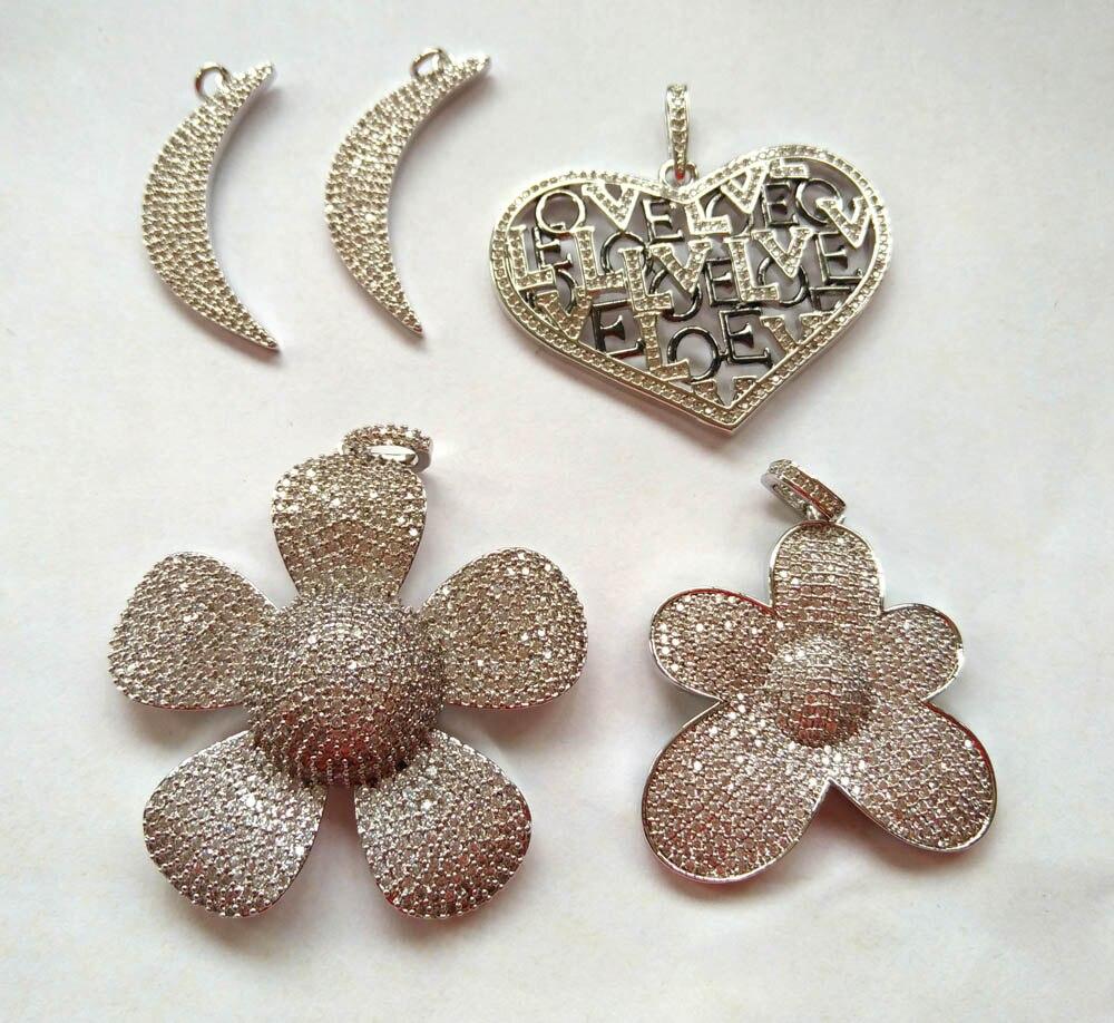 Lots 5 pièces CZ pendentif pavé diamant cristal Micro pavé charme/CZ cubique zircone charmes collier, Bracelet 25-50mm