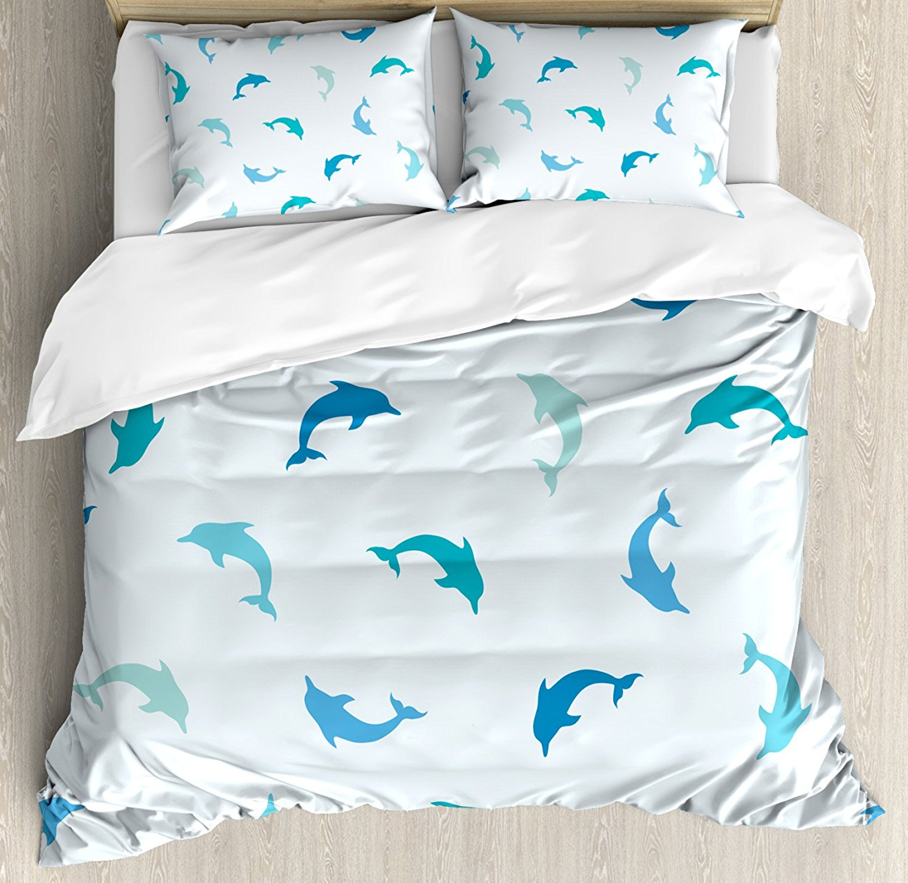 Море Животные Декор постельное белье прыгали и играть Дельфин цифры водных животных Морская тема 4 шт. Постельное белье