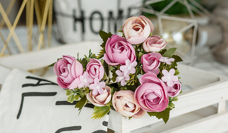 10 Heads Bouquet Rose Decor Artificial Flower Home Decor Imitation Fake Flower for Garden Plant Desk Decor Hand-Holding Flower (4)