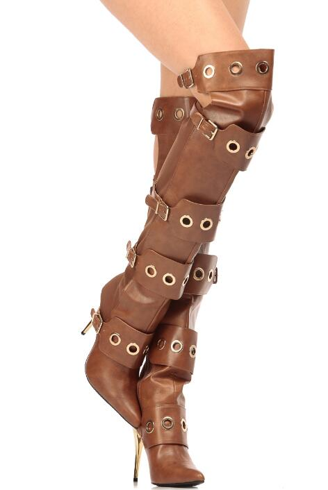 Metal Gold Ring Buckles Women Over The Knee Boots Knight Style Ladies High Heel Boots Stretch Fabric Back Female Boots