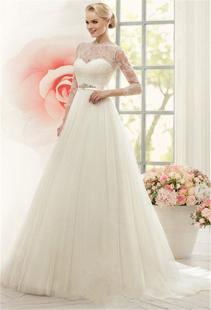 Tulle Wedding Dresses Lace Sleves